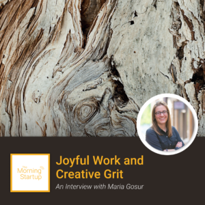 Background image of aged and twisted tree rings with a professional headshot photo of Maria Gosur
