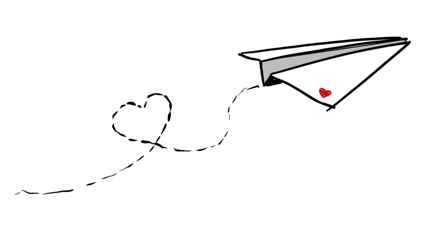 paper airplane trailing a heart